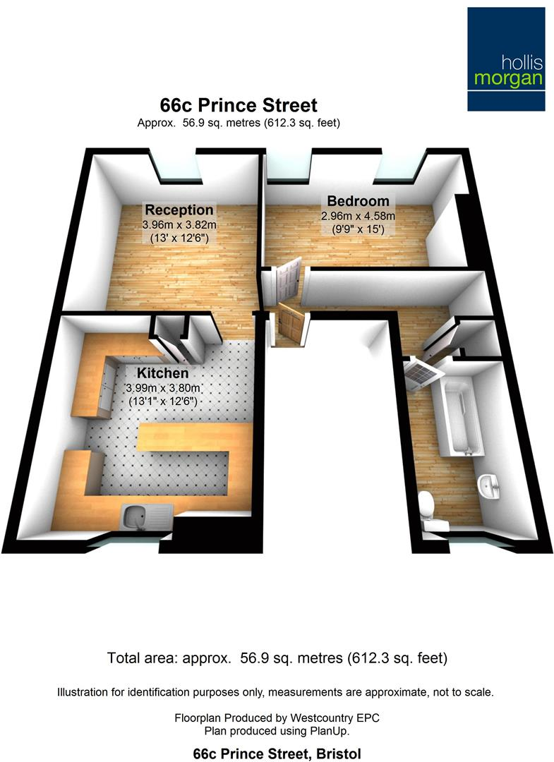 Floorplans For 66c ( 1 Bed Flat ) Prince Street, City Centre, Bristol