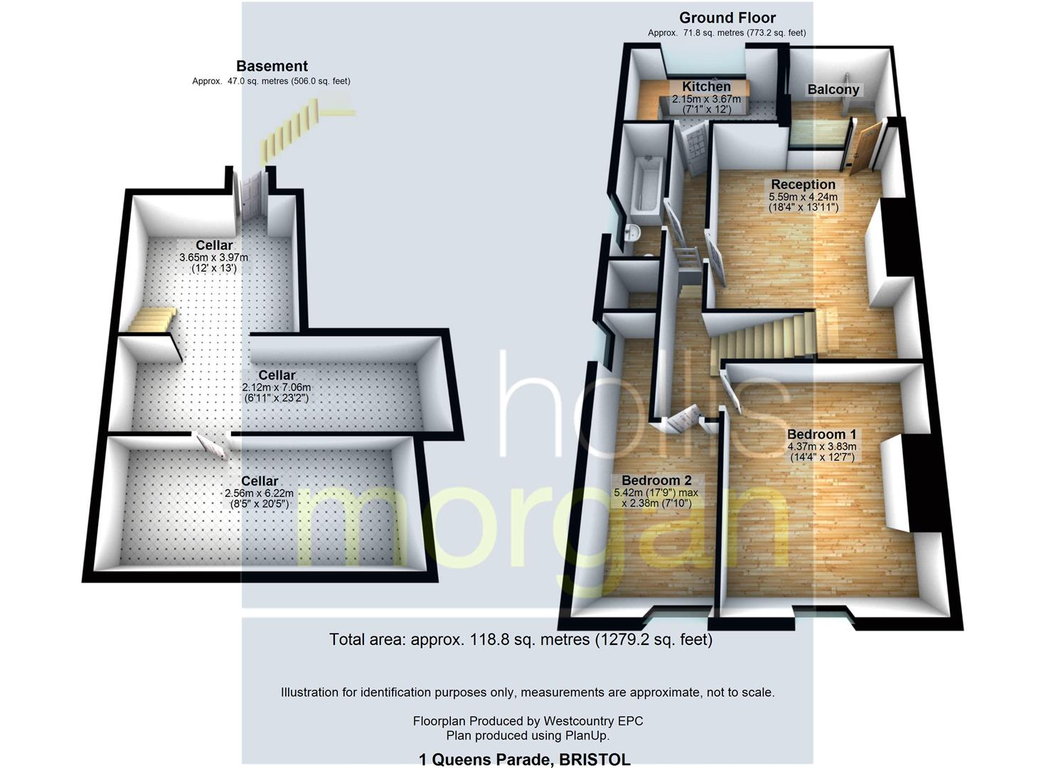 Floorplans For Garden Flat & Basement @ Queens Parade BS1