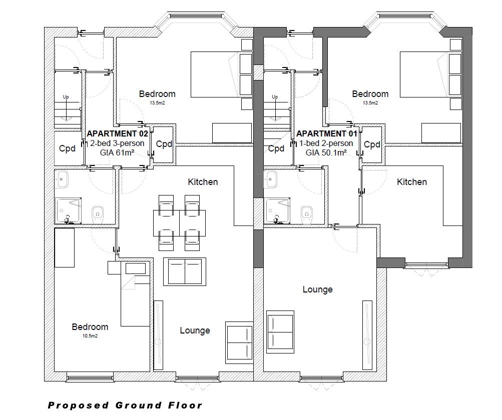 Floorplans For PLANNING GRANTED - 4 FLATS - GDV £800K
